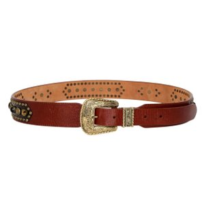 Louis Vuitton RARE Vintage Leather & Crocodile Jeweled Western Belt