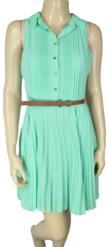 Greylin Green Mint Pleated Skirt Short Cocktail Dress Size 6 S