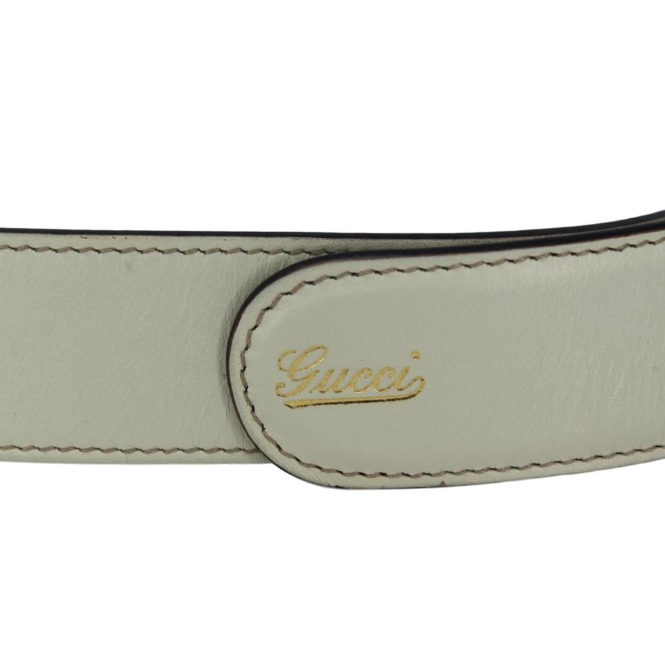 6108cff6c Gucci White Horsebit Leather with Bamboo & Silver Double Buckle - 90 ...