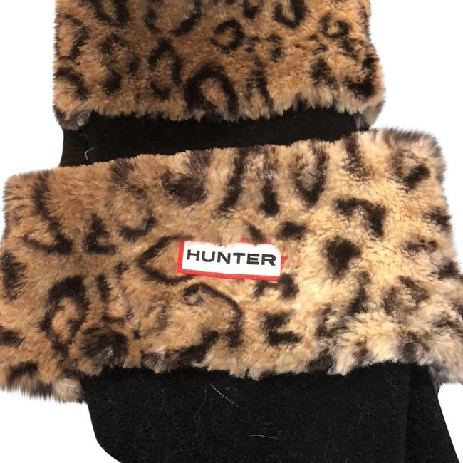 Item - Black Leopard Welly Fleece with Faux Fur Detail To Fold Over The Top Of A Rain Boot Socks