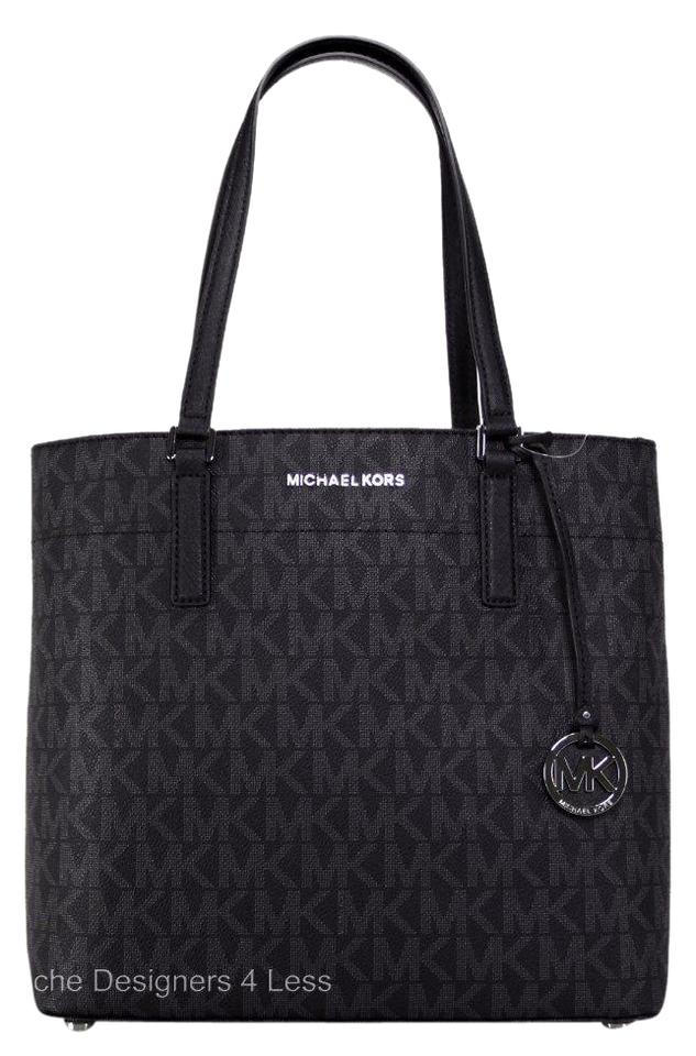 92716bcee67a Michael Kors Morgan Signature Medium Handbags Black Pvc /Leather Trim Tote