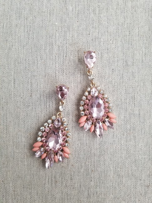 Item - Bridal Pink And Gold Drop Amelia Earrings