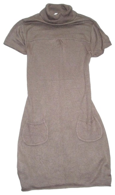 Item - Brown Taupe Cap Sleeve Turtleneck Sweater with Pockets S Mid-length Short Casual Dress Size 6 (S)