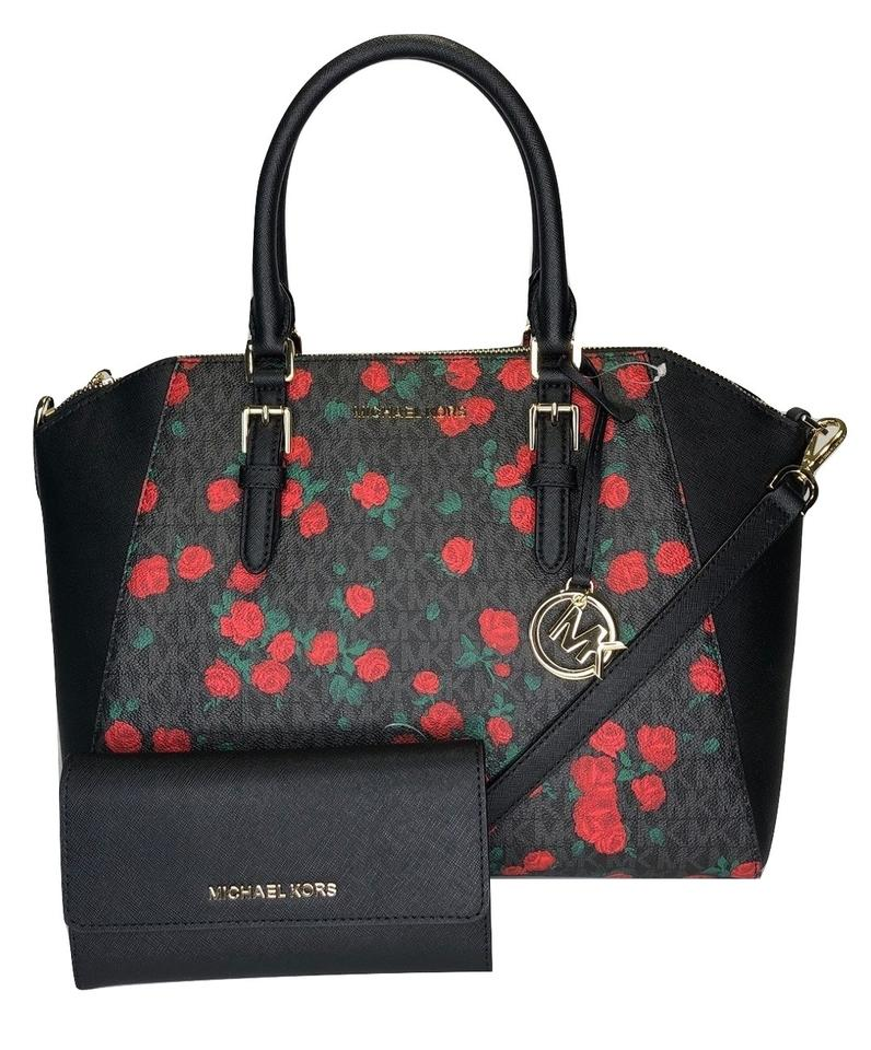 ef6fc85443cf Michael Kors Ciara Trifold Floral Matching Satchel in Signature MK  Black Red Roses Image 0 ...