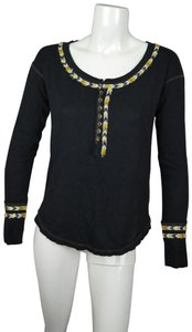 Free People Embroidered Henley Thermal Longsleeve Sweater
