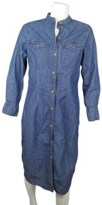 J. Peterman short dress BLUE Chambray Button Front Shirt Denim on Tradesy