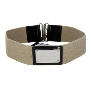 Dolce&Gabbana Canvas Elasticized Wide Belt w/ Black Leather Trim & Silver Plaque