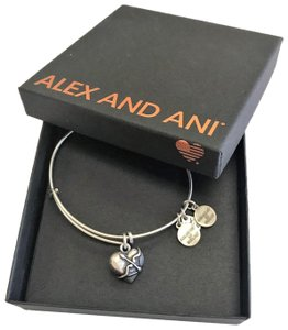 Alex and Ani Cupid's Heart Charm Expandable Wire Bangle Bracelet Style#: A17EB02RS