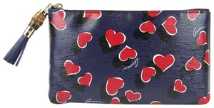 Gucci Heartbeat Leather Pouch Blue 4179 Clutch