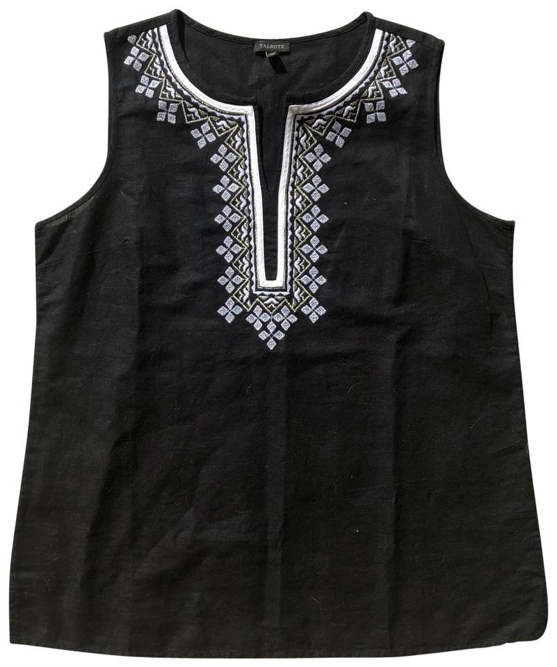 feea43326870a Talbots Black and White Grecian Embroidered Tank Top Cami Size 10 (M ...