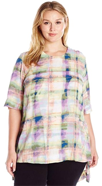 Item - New Multi Color Amethyst Orchid Brushed Plaid Hi-lo Blouse Tunic Size 22 (Plus 2x)