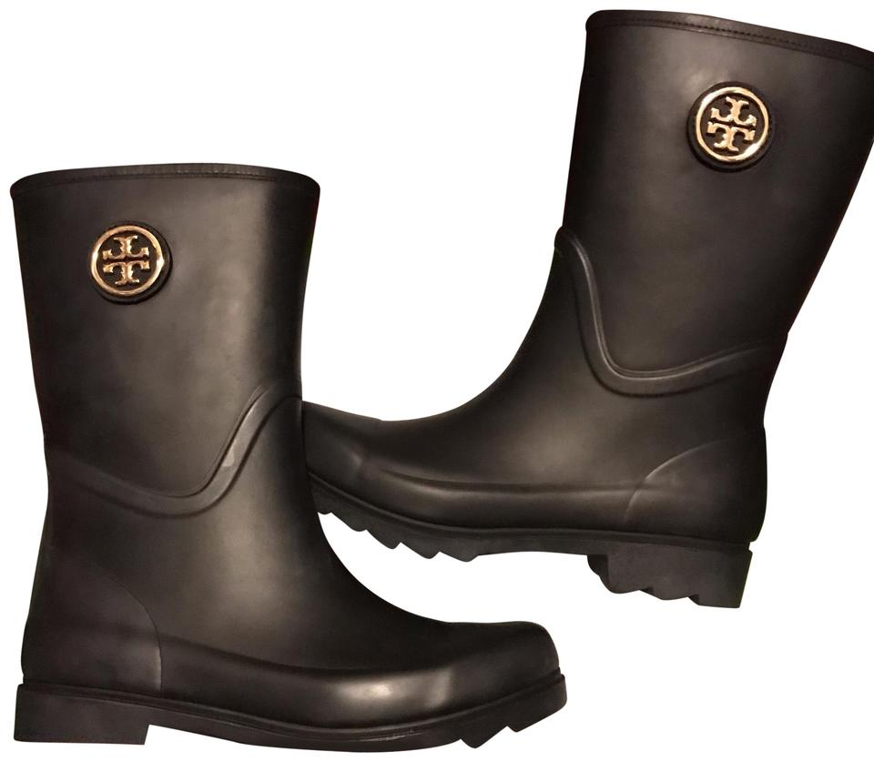 d786dfa2a68 Tory Burch Black Maureen Short Rain Boots Booties Size US 8 Regular ...