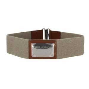Dolce&Gabbana Canvas Elasticized Wide Belt Brown Leather & Silver Plaque Belt 75/30