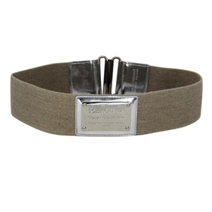 Dolce&Gabbana Canvas Elasticized Wide Belt w/ Metallic Silver Leather & Plaque 75/30