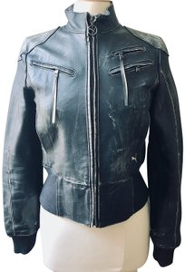 Puma Moto Leather Distressed Leather Rock'n'roll Motorcycle Jacket