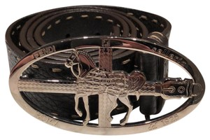 Fendi Brown leather Fendi belt with silver horse buckle