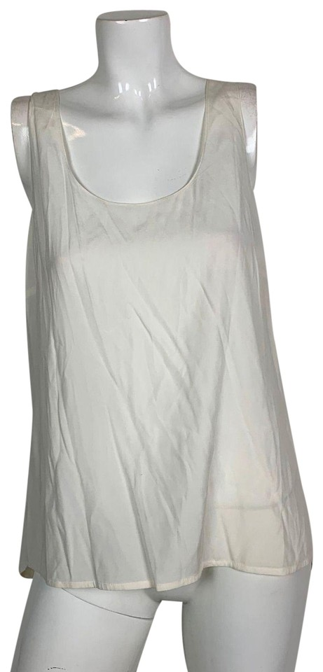 6159365227076 Vince White Tunic Silk Sleeveless Women Blouse Size 8 (M) - Tradesy