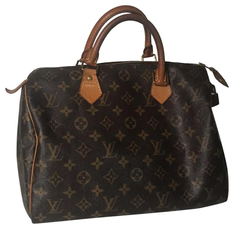 Louis Vuitton Lv Monogram Signature Handbags Brown Calfskin Leather Satchel 929bb70538
