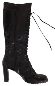 Stuart Weitzman Leather Patent Lace Up Black Patent Boots