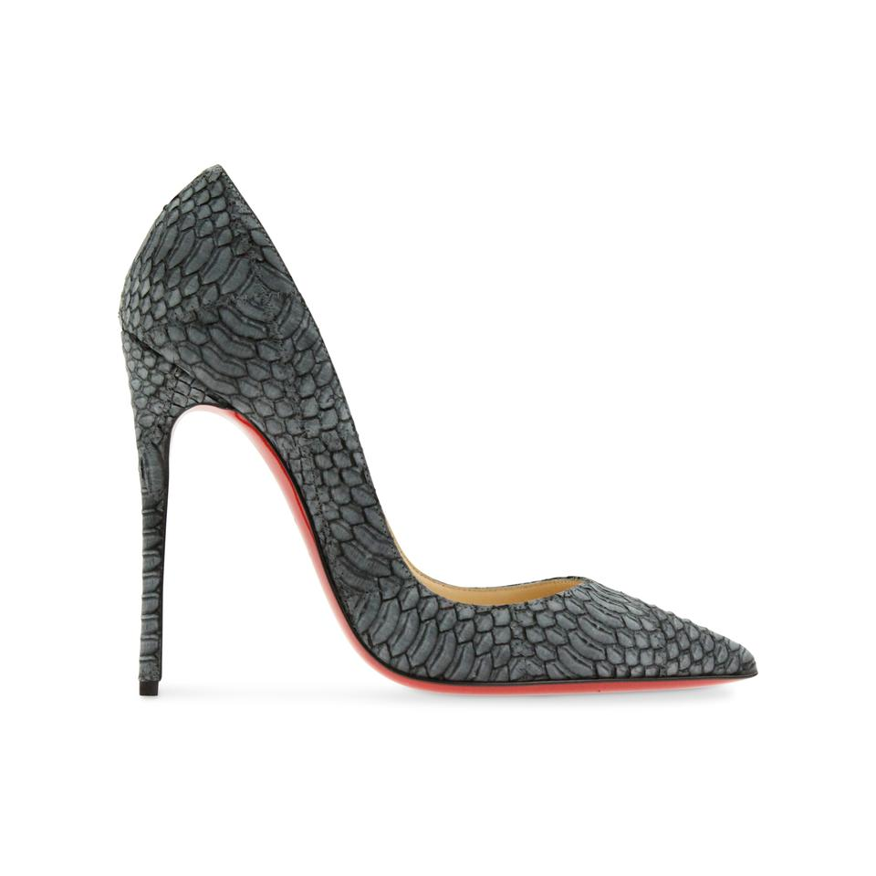 436d27c4f405 Christian Louboutin Grey So Kate 120 Watersnake Nubuck Geometric ...