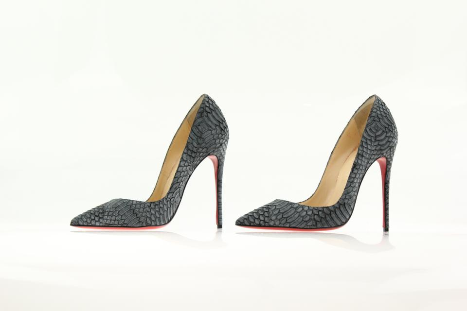 a0e6e9a19dfa Christian Louboutin Grey So Kate 120 Watersnake Nubuck Geometric Pumps Size  US 6.5 Regular (M