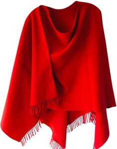 Brooks Brothers Brooks Brothers Red Wool Fringed Wrap/Shawl/Scarf