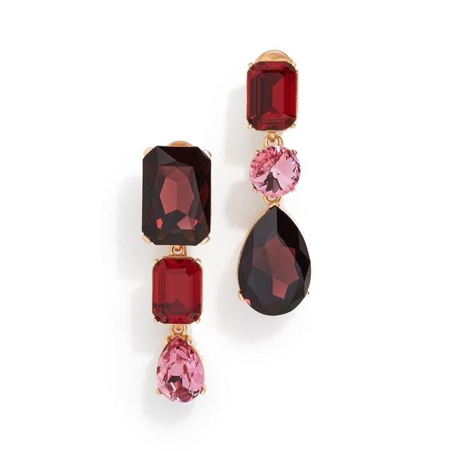 Item - Red Pink Bold Crystal Drop Clip On Earrings