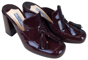 Prada Red Patent Leather Loafers Heels Maroon Mules