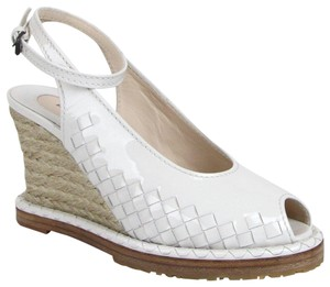 Bottega Veneta Women's Patent Leather Woven White Wedges