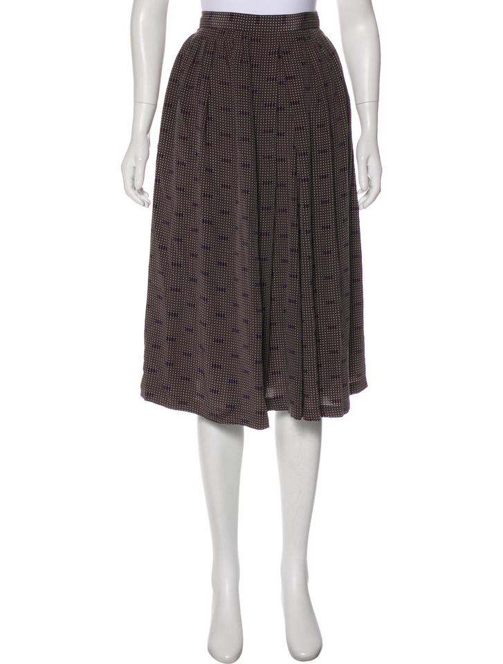 431ca27e5 Dior Olive Brown Silk with Multi-colored Polka Dot Geometric Print Skirts/Designer  Clothes Skirt