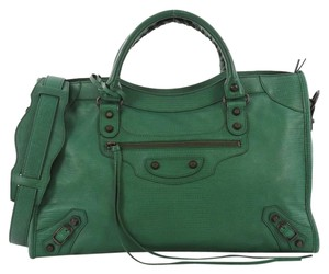 Balenciaga Leather Tote in green