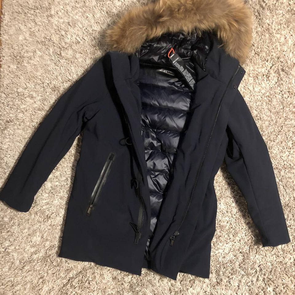 quality design 19d07 6f4ce Navy Blue Roberto Ricci Designs Winter Montgomery Fur Padded Jacket Coat  Size 10 (M) 57% off retail