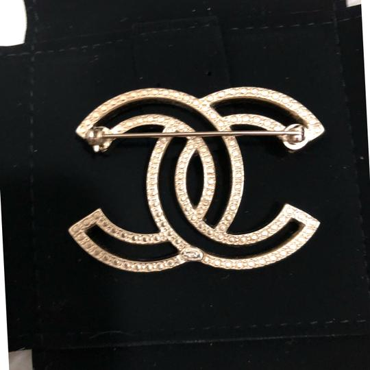 Chanel Brand New in Box Chanel Brushed Gold tone Rhinestone CC Logo Brooch