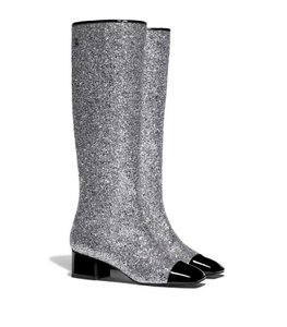 Chanel Glitter Patent Leather Gogo Silver Boots