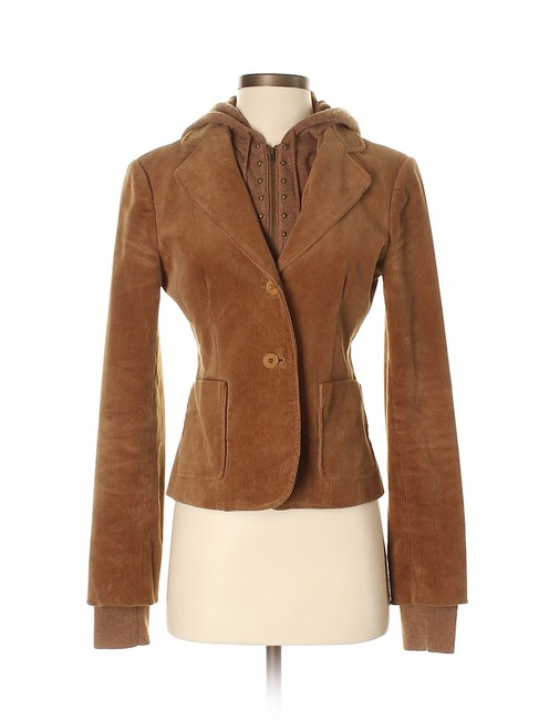 Item - Brown/Tan/Camel Corduroy Hooded Wool/Cashmere Studded Sweater Jacket Size 4 (S)
