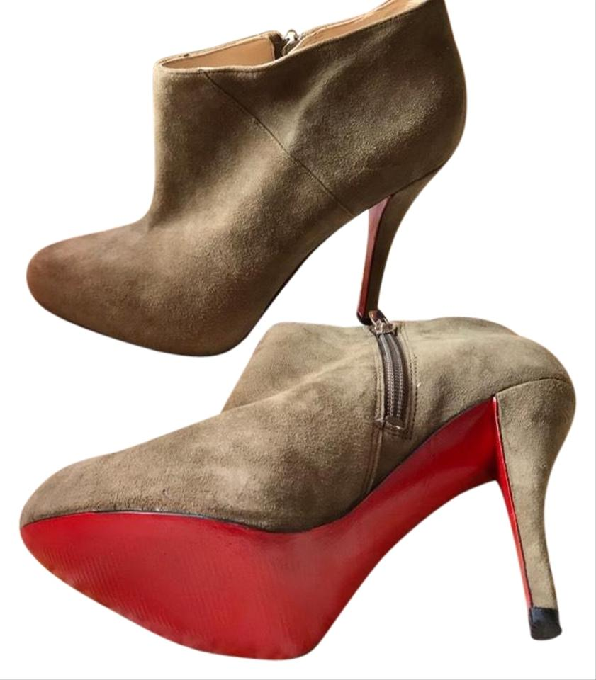 12b08d20d Enzo Angiolini Taupe Red Bottom Sole Suede Ankle Platform Boots Booties