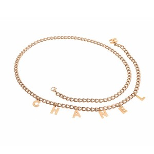 Chanel Gold Plated Letter Charms Chain Belt