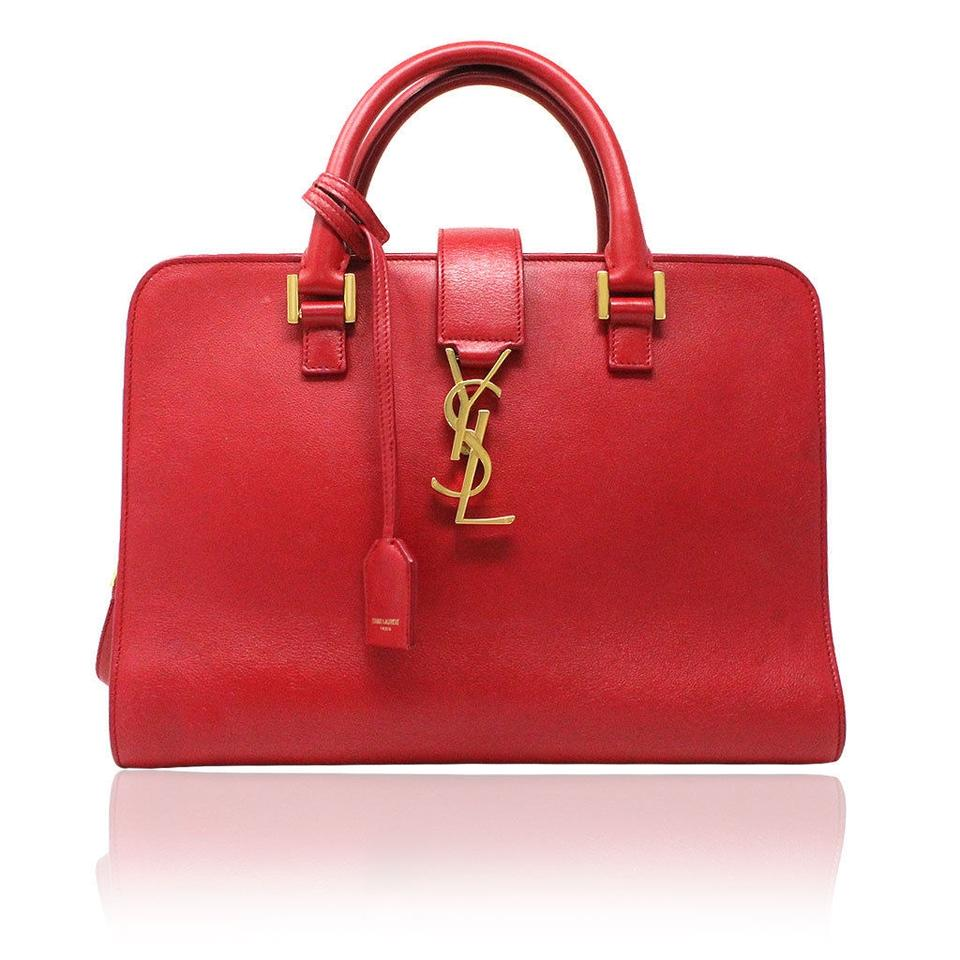 Saint Laurent Sac de Jour Ysl Gold Hardware Crossbody Handbag Red ... 12b2d353486a1