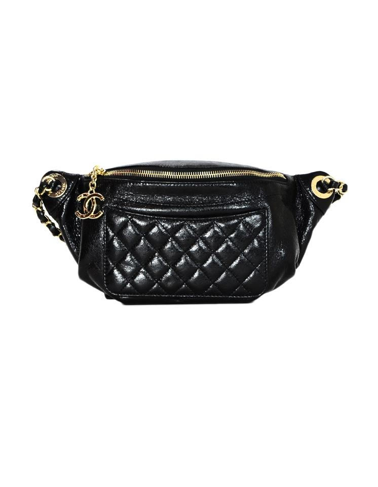 320f644810b2 Chanel Waist 2018 Crumpled Glazed Quilted Fanny Pack Black Lambskin ...