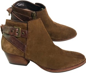 Aquatalia Leather Suede Buckle Brown Boots