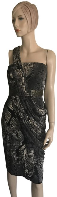 Item - Grey Black Cream One Shoulder Mid-length Night Out Dress Size 6 (S)