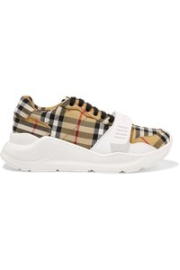 Burberry Leather Canvas High Top Sneakers Athletic