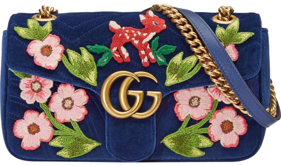 0e50c5852338 Gucci Marmont New Gg 2.0 Shoulder Embroidered Small Blue Cobalt ...