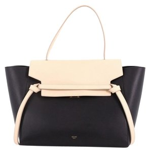 Céline Beltbag Leather Satchel in black and white