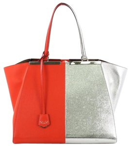 Fendi Handbag Leather Tote in red and silver metallic