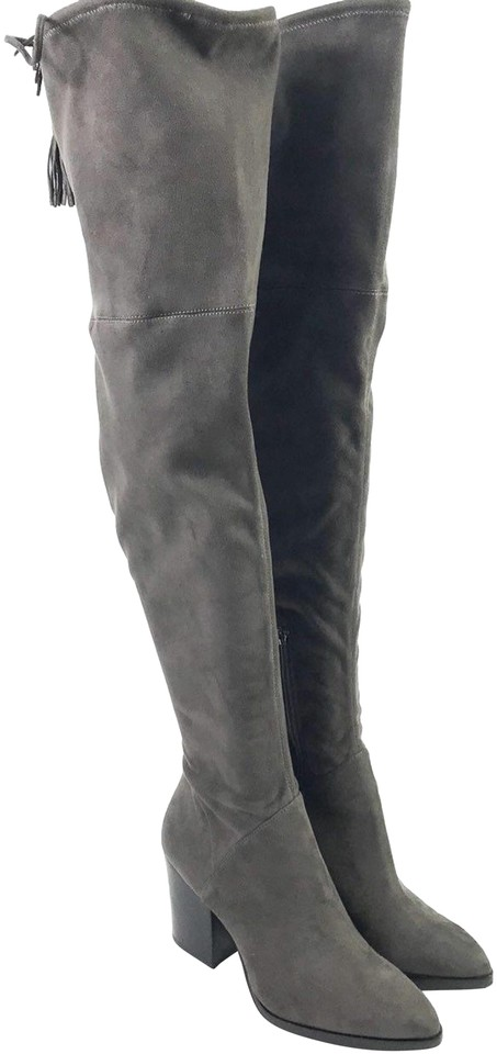 66d06f81328 Marc Fisher Gray Women s Fabric Over The Knee 7.5m Boots Booties ...