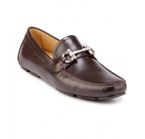 Salvatore Ferragamo Brown Parigi Leather Gancini Drive Moccasins 9 Ee 42 Shoes