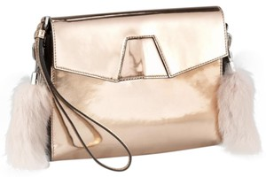 Alexander Wang Mcqueen Rabbit rose gold, silver, fur Clutch