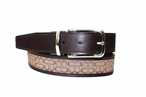 Coach Mens Reversible Signature Leather Belt Khaki/Mahogany Size 32 Waist