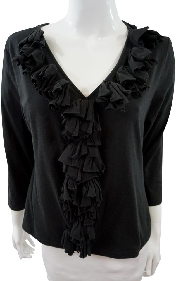 70674ea1211b61 Anne Fontaine Black Ruffle Blouse Size 20 (Plus 1x) - Tradesy